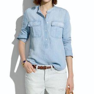 MADEWELL Chambray Mandarin Collar Pullover Shirt